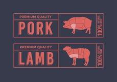 Logo för att märka av kött Bilddjur som används för mat från köttbranschen Arkivbilder
