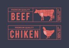 Logo för att märka av kött Bilddjur som används för mat från köttbranschen Arkivbild