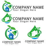 Logo för begrepp för ekologi för lokalvårdvatten Royaltyfri Foto