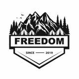Logo för bergaffärsföretag och att campa och att klättra expedition Tappningvektorlogo och etiketter, symbolsmalldesign royaltyfri illustrationer