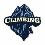 Logo för bergklättringen, affärsföretag som campar, expedition Tappningvektorlogo och etiketter, illustration f?r symbolsmalldesi vektor illustrationer