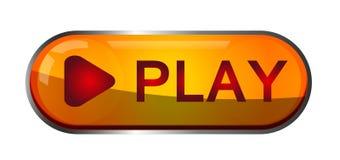 Logo för beståndsdel för tecken för lekknappsymbol i röd och guld- färg på vit bakgrund vektor illustrationer