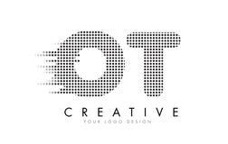 Logo för bokstav för OT-nolla T med svartprickar och slingor Arkivfoto