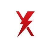 Logo för bokstav X för röd vektorbult elektrisk arkivbild