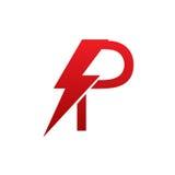 Logo för bokstav P för röd vektorbult elektrisk royaltyfri bild
