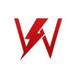 Logo för bokstav U för röd vektorbult elektrisk arkivfoto