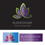 Logo för brunnsort för bladblommaskönhet Royaltyfri Bild