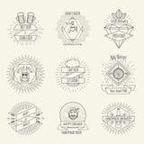Logo för bryggeri för öl och för hantverk för Hipsterstil handgjord royaltyfri illustrationer