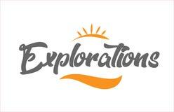 logo för design för typografi för text för ord för handstil för svart hand för utforskning royaltyfri illustrationer