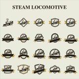 Logo för emblem för ångalokomotiv Arkivbild