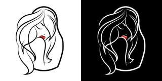 Logo för en skönhetsalong eller ett märke av skönhetsmedel Härlig flicka och konturn av matrioshkaen Förpacka av kvinnors produkt royaltyfri illustrationer