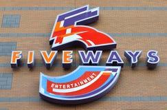 Logo för Fiveways shoppingmitt Fotografering för Bildbyråer