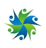 Logo för folk för affär för teamworkswooshmodell Fotografering för Bildbyråer