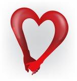 Logo för form för förälskelse för hjärta för parinnehavhänder Royaltyfri Bild