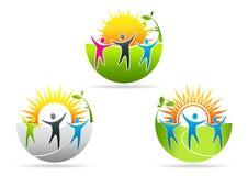 Logo för fysisk hälsa, sjukgymnastikbegreppsdesign Arkivfoto