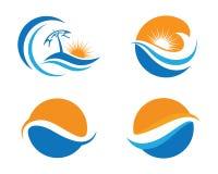 Logo för havstrandvåg Fotografering för Bildbyråer