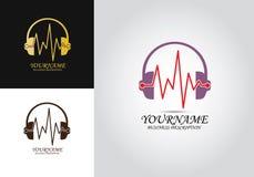 Logo för Headphonehjärtatakt vektor illustrationer