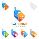 Logo för hem för försäljning för design för fastighetvektorlogo Royaltyfri Bild