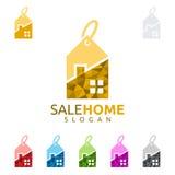 Logo för hem för försäljning för design för fastighetvektorlogo Arkivbild