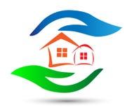 Logo för hem- omsorg med händer Royaltyfri Fotografi