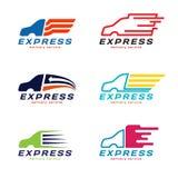 Logo för hemsändning för lastbilbil uttrycklig Fastställd design för vektor Arkivbilder