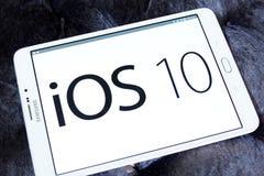 Logo för Ios 10 på äpplerepresentanthemsidan Royaltyfri Fotografi