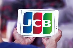 Logo för JCB-kreditkortföretag Arkivbilder
