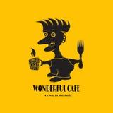 Logo för kaféer, restauranger, stänger med en person som isoleras på en ye Royaltyfri Bild