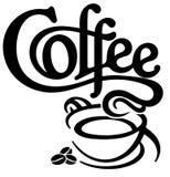 Logo för kaffekopp med kaffebönor vektor illustrationer