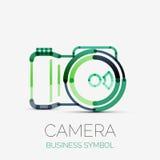 Logo för kamerasymbolsföretag, affärssymbolbegrepp Arkivfoto