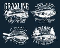 Logo för klipskt fiske för Grayling Damen av floden stock illustrationer