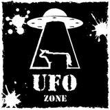 Logo för ko för vektorufo-zon på svart bakgrund Royaltyfri Bild