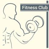 Logo för konditionklubba med en kontur av en man Arkivbild