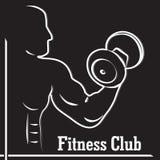 Logo för konditionklubba med en kontur av en man Royaltyfria Bilder