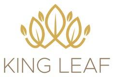 Logo för konung Leaf Crown Gold royaltyfria bilder