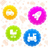 Logo för kort för klistermärke för barnleksaksymbol Arkivfoto