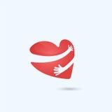Logo för kram själv Logo för förälskelse själv Förälskelse- och hjärtaomsorgsymbol vektor illustrationer