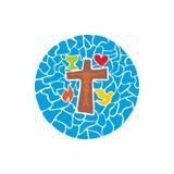 Logo för kristen kyrka Kors av Jesus och symboler som dras av händer vektor illustrationer
