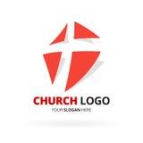 Logo för kristen kyrka med Röda korsetsymbolsdesign Vektorillustr stock illustrationer