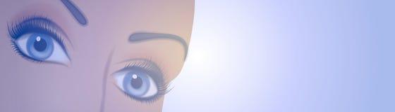 logo för kvinnlig för 2 banerögon vektor illustrationer