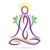 Logo för liv för wellness för position för yogaöversiktslotusblomma sund royaltyfri illustrationer