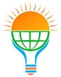 logo för ljus kula för sol för sol- energi Fotografering för Bildbyråer