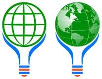 Logo för ljus kula för världsjordklot stock illustrationer
