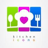 Logo för meny för framstickandeköksymbol Arkivfoton
