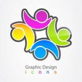 Logo för nätverk för affär för grafisk design social Arkivfoton