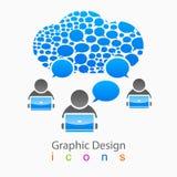 Logo för nätverk för vektorbubblagrupp människor social Royaltyfri Foto