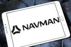 Logo för Navman GPS navigeringföretag Royaltyfri Foto