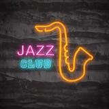 Logo för neon för jazzklubba stock illustrationer