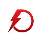 Logo för nolla för bokstav för röd vektorbult elektrisk arkivfoton