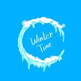 Logo för is och för snö för cirkel för vinterTid jul stock illustrationer